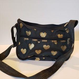 LeSportsac Black and gold purse nylon